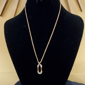 Ann Taylor Gold Rhinestone Pendant Necklace #557